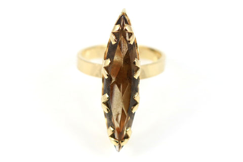Fabulous 9ct Gold Smokey Quartz Cocktail Ring - Circa 1974
