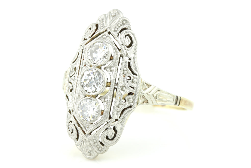 14ct Gold Art Deco Diamond Filigree Ring (0.33ct) c.1930