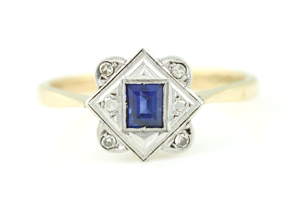 18ct Gold and Platinum Art Deco Sapphire Diamond Engagement Ring c.1920