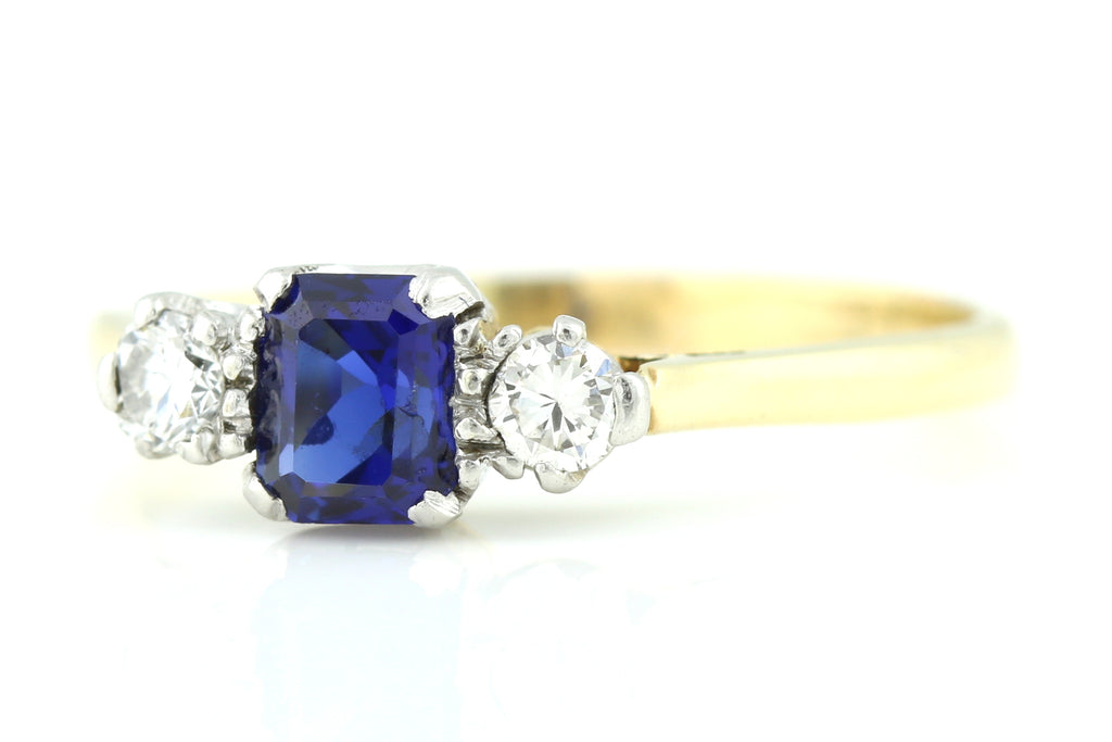 18ct Gold Art Deco Sapphire & Diamond Trilogy Engagement Ring c.1920