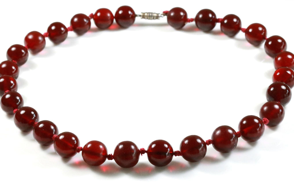 Art Deco Cherry Amber Bakelite Necklace- Circa 1920