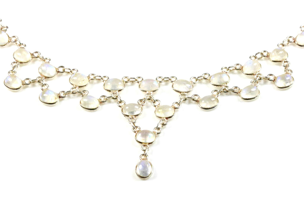 Vintage Moonstone Necklace Silver Festoon