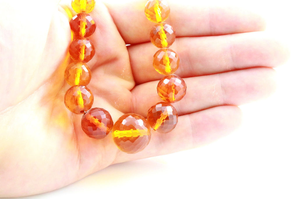 Art Deco Faceted Natural Amber Necklace - Circa 1920