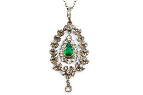 Antique Edwardian Silver & Emerald Paste Pendant with Original Chain- Circa 1901