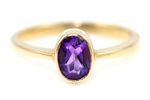 Fine Amethyst Stacking Ring in 9ct Yellow Gold