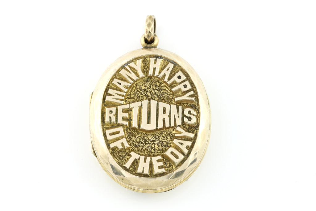 "Large 9ct Antique Gold Locket - ""Many Happy Returns"""