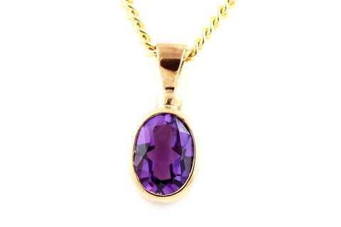 Beautiful 9ct Gold Amethyst Pendant & Chain