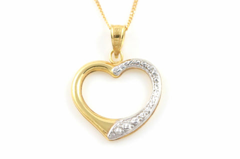 Sweet 9ct Gold Open Heart Pendant & Chain