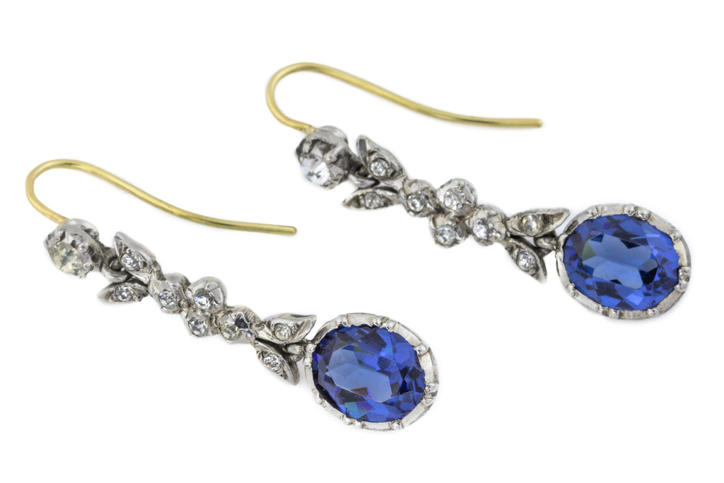 Edwardian Blue Paste Drop Earrings in 18ct Gold and Silver c.1901