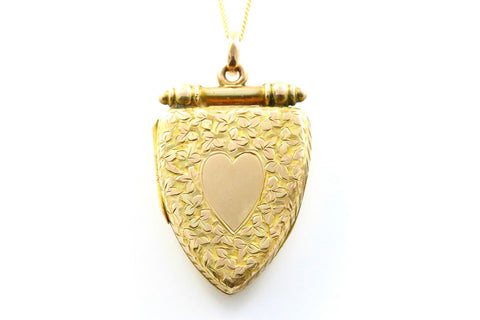 SALE PENDING! - Gorgeous Shield Shaped Victorian 15ct Gold Locket- Circa 1840