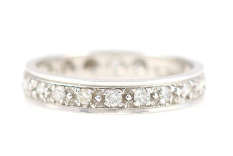 9ct White Gold Full Diamond Eternity Ring (0.35ct) - Size O