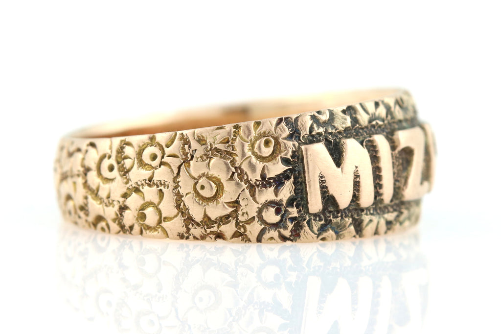 Edwardian Rose Gold Mizpah Ring c.1902