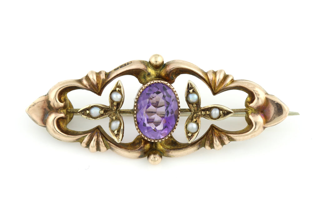 Antique Gold Amethyst Brooch c.1907