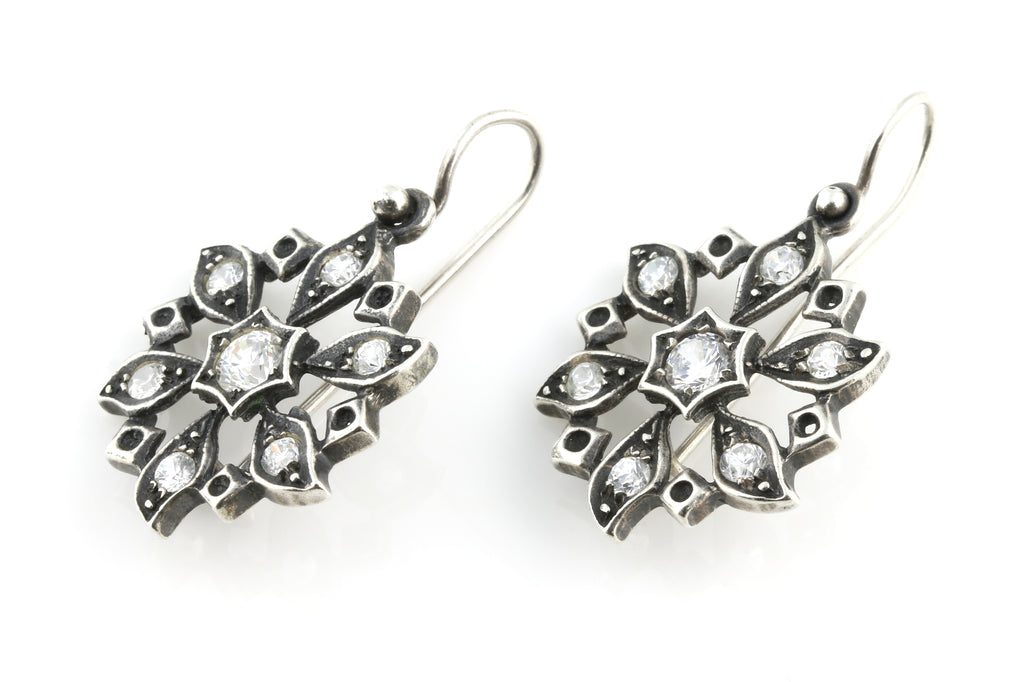 Antique Silver Paste Flower Drop Earrings c. 1900