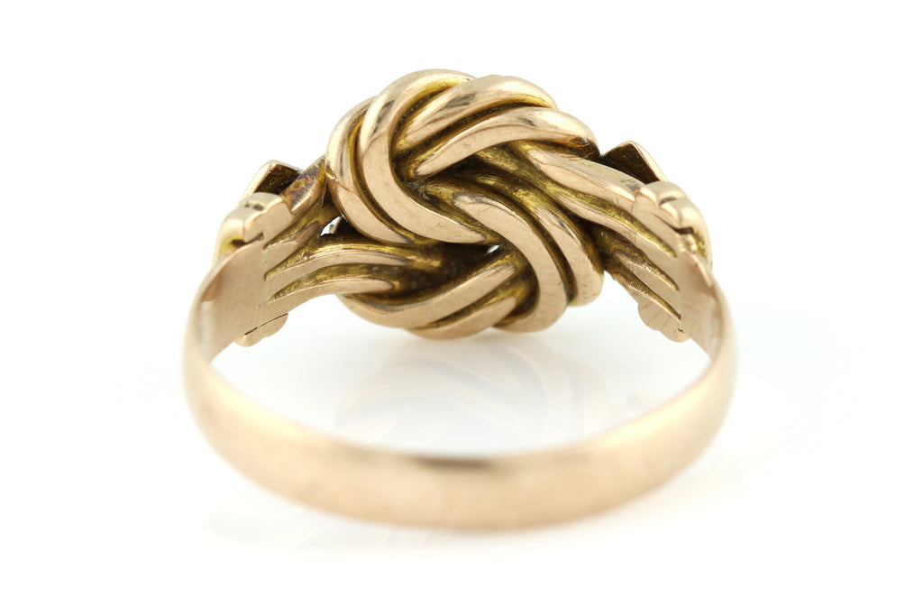 Antique 9ct Gold Knot Ring with Diamonds c.1853 - Victorian Knot Ring