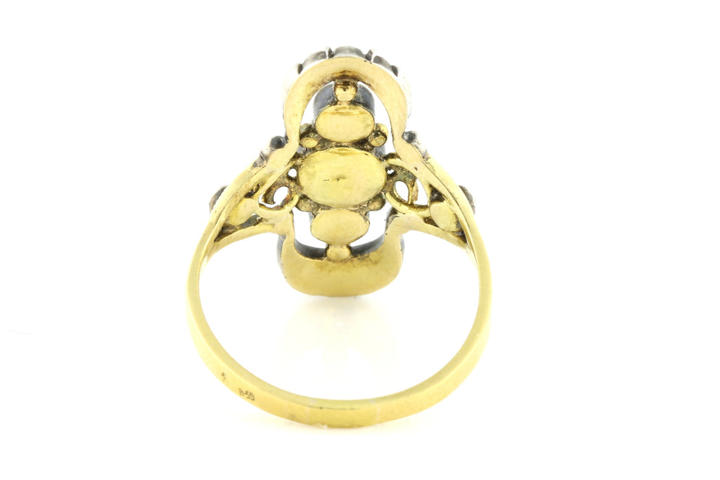 Antique Rose Cut Diamond Ring in 18ct Gold and Silver c.1800