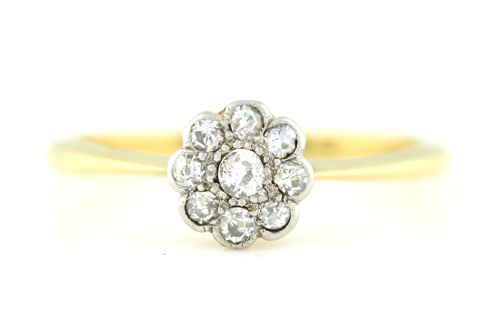 18ct Gold Edwardian Diamond Cluster Ring c.1905