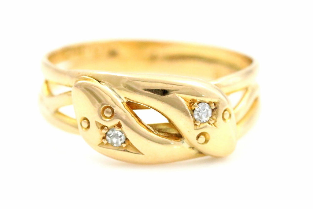 Victorian Snake Ring Diamond & 18ct Gold - Double Snake Design - c.1852