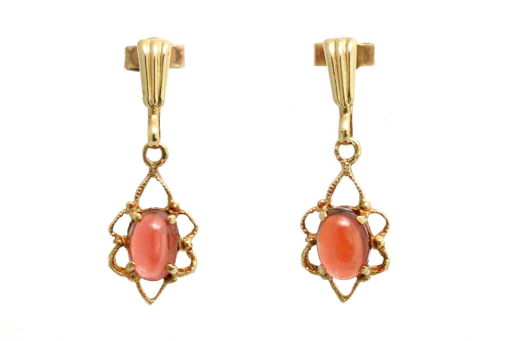 Retro 9ct Gold Garnet Drop Earrings - Circa 1978