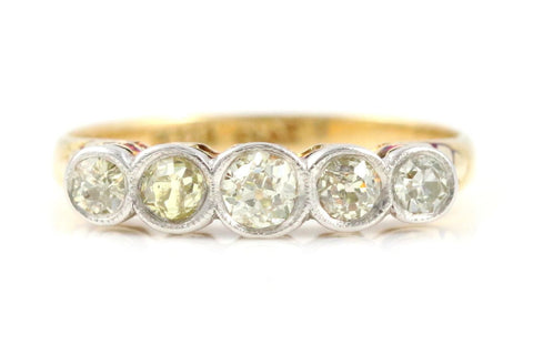 Art Deco 0.50ct Diamond 5 Stone 18ct Gold Ring - Circa 1920
