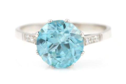 Art Deco Starlite Blue Zircon, Platinum & Diamond Ring - Circa 1920
