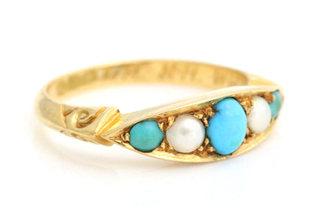 Superb 18ct Gold Turquoise & Natural Pearl Ring - c.1901