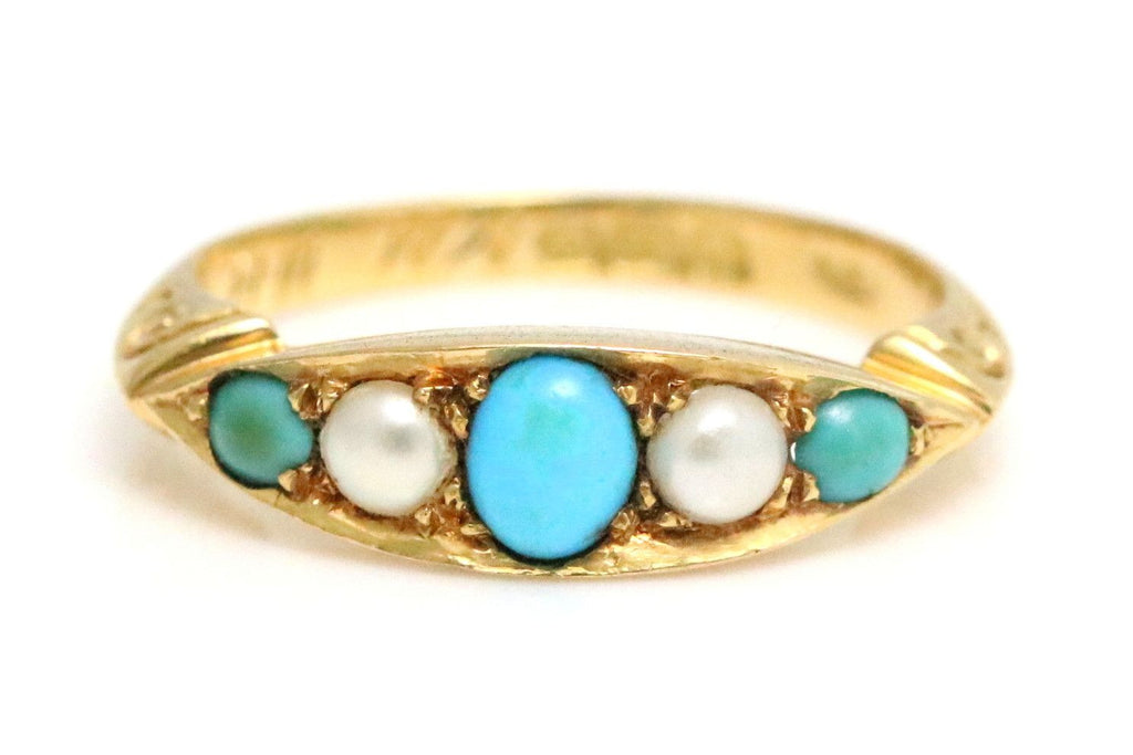 RESERVED for K! -Antique 18ct Gold Turquoise Pearl Ring c.1905