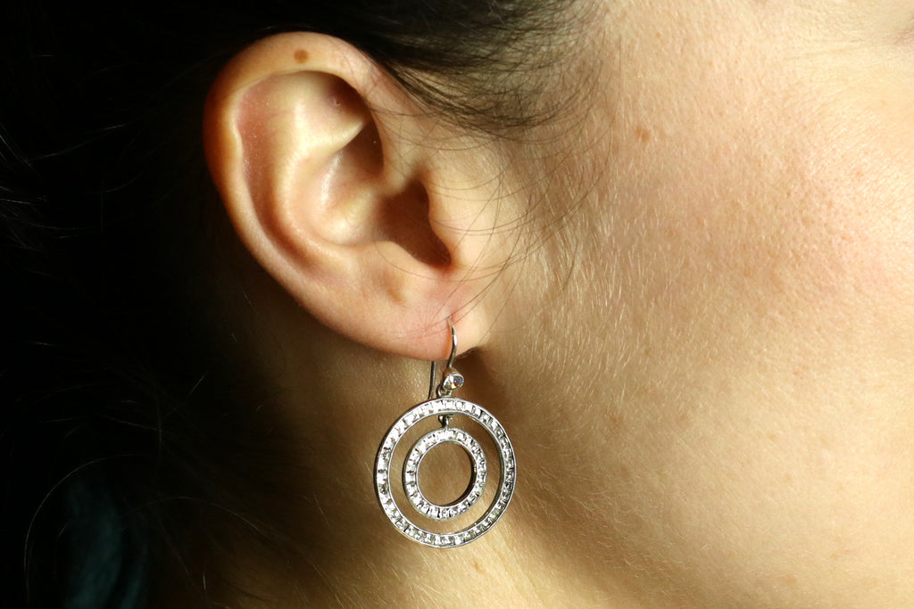 Art Deco Silver Paste Earrings with Concentric Circles c.1930