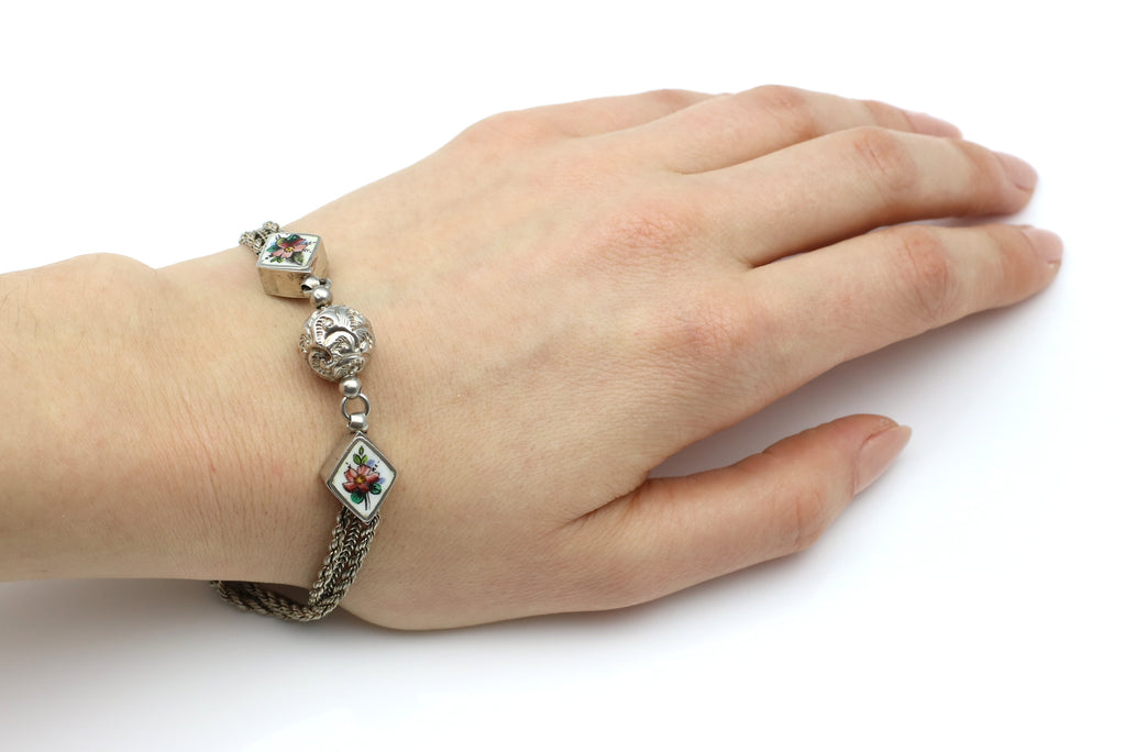 Antique Silver Albertina Bracelet with Pretty Enamel Beads c.1880