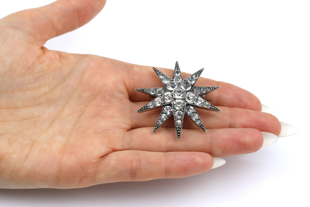 Victorian Silver Paste Star Brooch with Gold Back c.1850