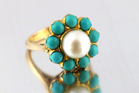 Stunning 15ct Gold Cultured Pearl & Turquoise Howlite Ring