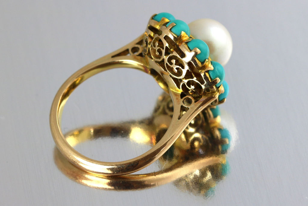 15ct Gold Pearl & Howlite Ring
