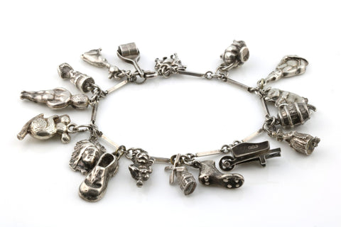 Vintage Silver Charm Bracelet with 17 Charms - Circa 1948