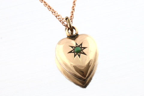 Romantic Antique Turquoise Heart Pendant, with chain- Circa 1903
