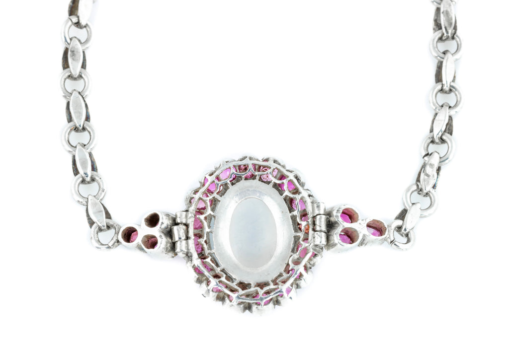 Art Deco Moonstone and Ruby Cluster Bracelet 2.20ct