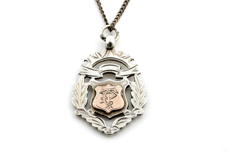 Decorative English Silver & Rose Gold Fob Medal Pendant, with Chain - c1944