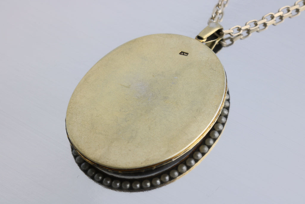 Large Antique Silver Locket, Signed Alfred Wigley with Chain - c.1890