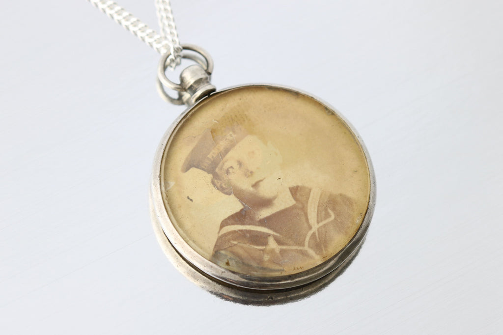 Charming Edwardian Silver Double Locket and Chain - Circa 1903