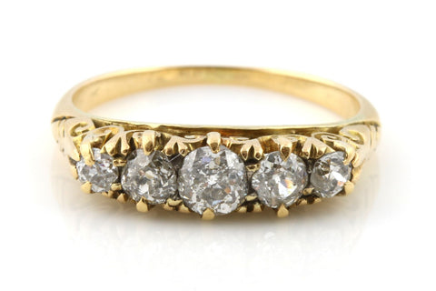 Antique Edwardian 0.70ct Old Cut Diamond 18ct Gold Ring - England c1901