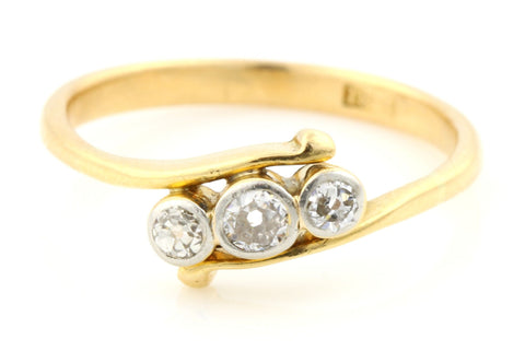 Art Deco 0.30ct Diamond 18ct Gold Trilogy Ring - Circa 1920