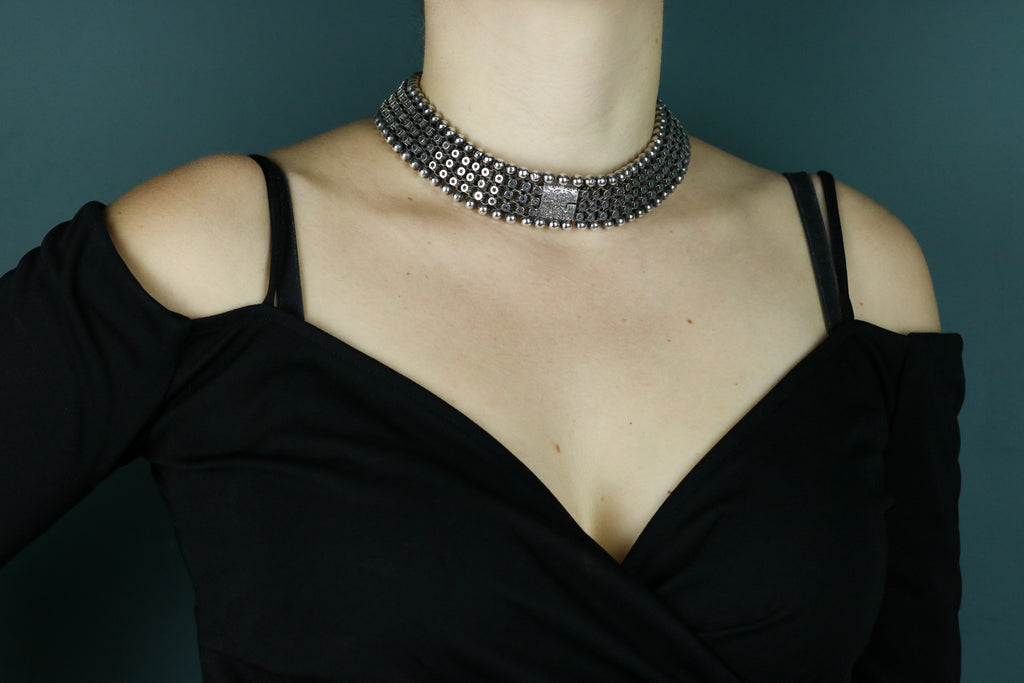 Victorian Aesthetic Matching Cuff Bracelets or Choker Necklace c.1880