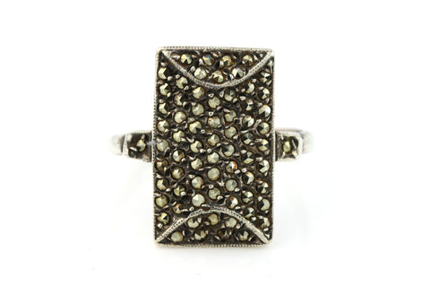 Fabulous Art Deco Sterling Silver Marcasite Statement Ring - Circa 1920