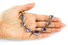 ON HOLD Antique Silver Amethyst Riviere Necklace