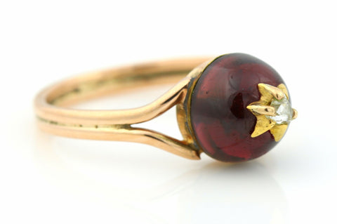9ct Victorian Rose Gold, Garnet & Diamond Ring - Circa 1840