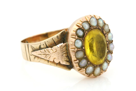 Beautiful 9ct Gold Georgian Citrine Paste & Pearl Ring - Circa 1810