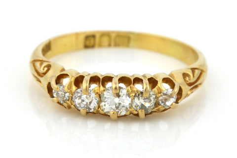 Antique 0.50ct Old Cut Diamond 18ct Gold Ring - England c1900
