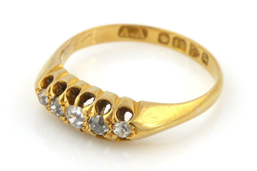 18ct Yellow Gold 5 Stone Diamond Boat Ring (0.25ct) - c.1864