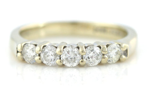 14ct White Gold 5 Stone Diamond Ring - (0.50ct)
