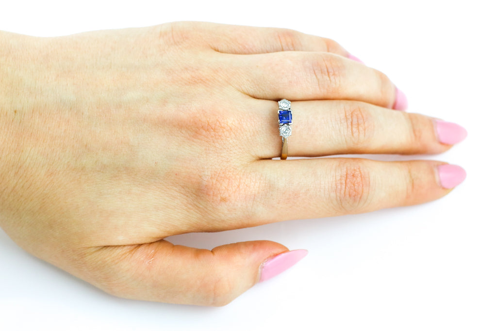Art Deco Sapphire & Diamond Trilogy Engagement Ring