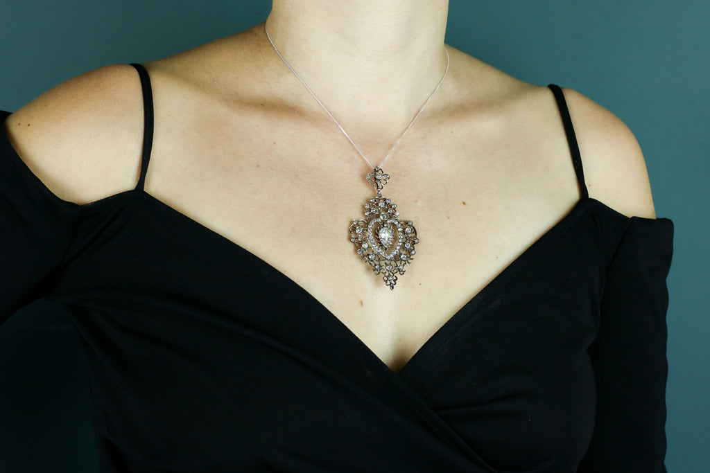 Antique Flaming Heart Paste Pendant c.1890